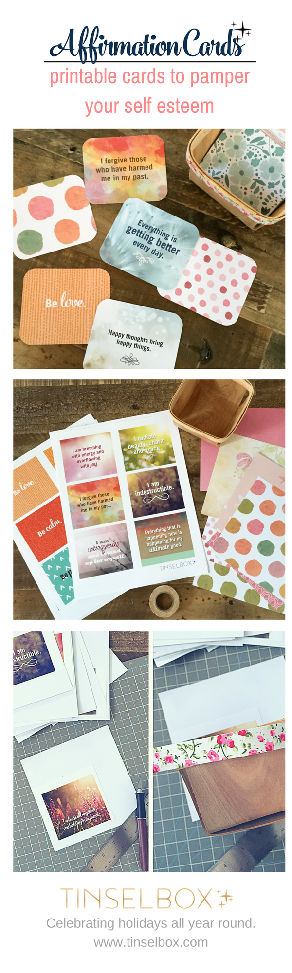 Printable affirmation cards to pamper self esteem.