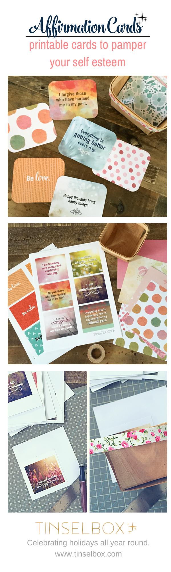 Printable affirmation cards to pamper self esteem.