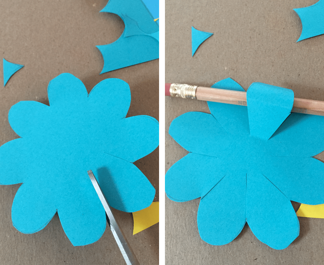 April showers bring mays paper flowers tinselbox once the paper flowers are cut out cut in the petal cracks to reach deeper to the center of the flower mightylinksfo