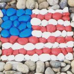 American Flag Inspired Rock Garden Art