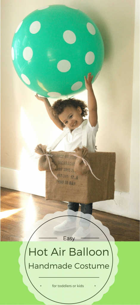 Easy hot air balloon halloween costume for toddlers or kids. This giant balloon makes this no-sew costume so much fun!