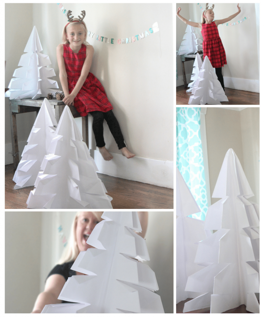 Giant Origami Christmas trees to decorate for the holidays. What an awesome DIY!