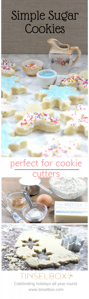 These simple sugar cookies are perfect for cookie cutters. They hold their shape and do not require chilling.