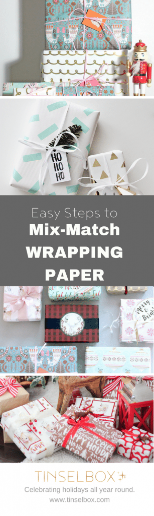 Mix and match wrapping paper for Christmas or Birthdays