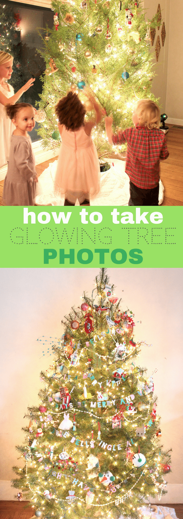 Photography Tutorial: How to take nighttime photos of your Christmas Tree with your DSLR camera.  The settings are easy, but there are a few tricks to getting a glowing photo.