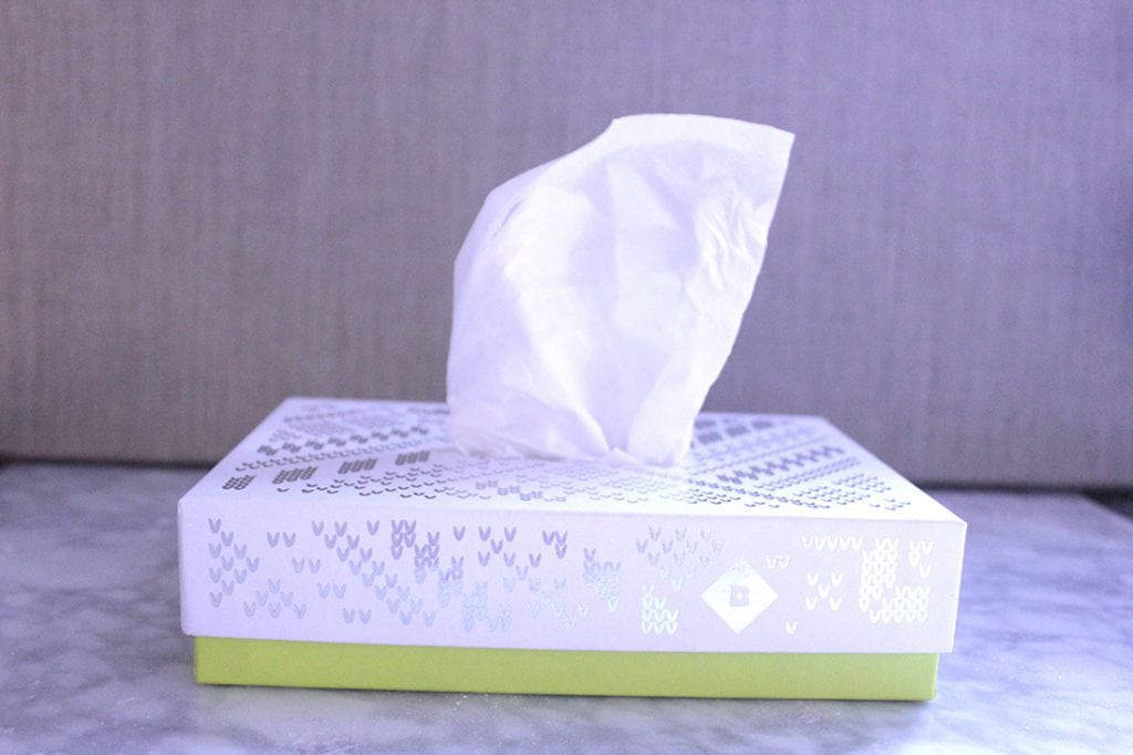 Tissue paper reuse DIY for birchbox box