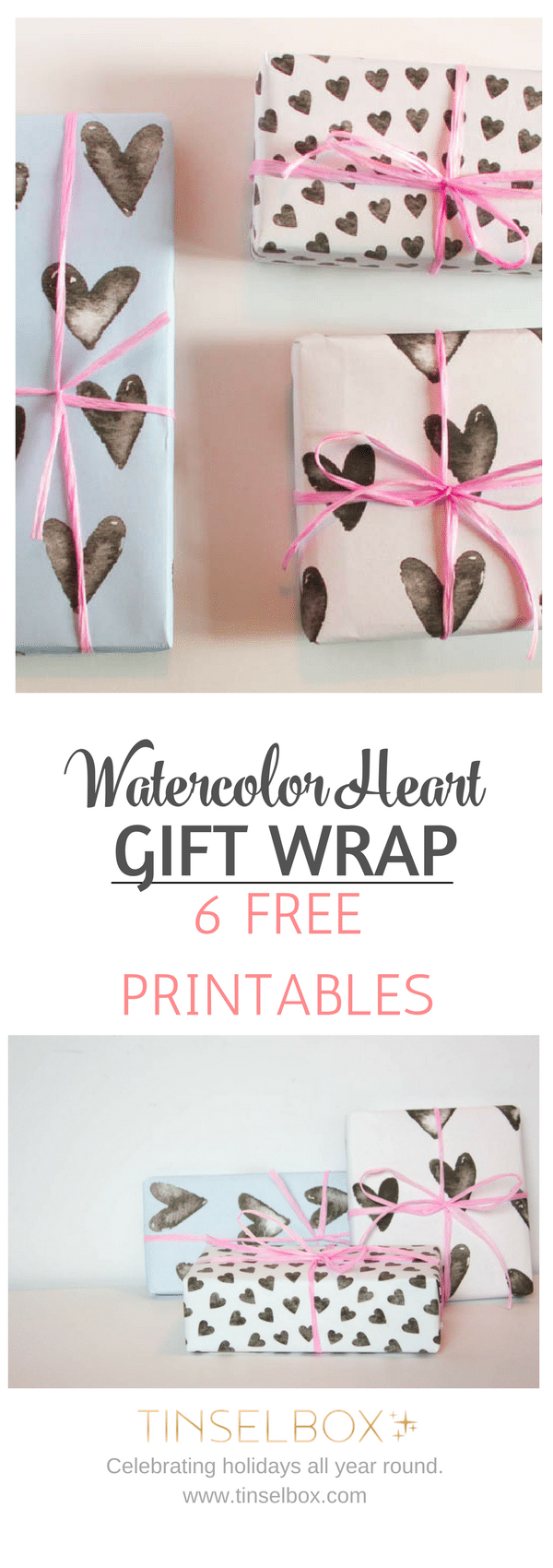 Watercolor free gift wrap printable in six heart designs