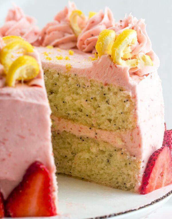 Lemon Poppyseed Cake with Strawberry Buttercream