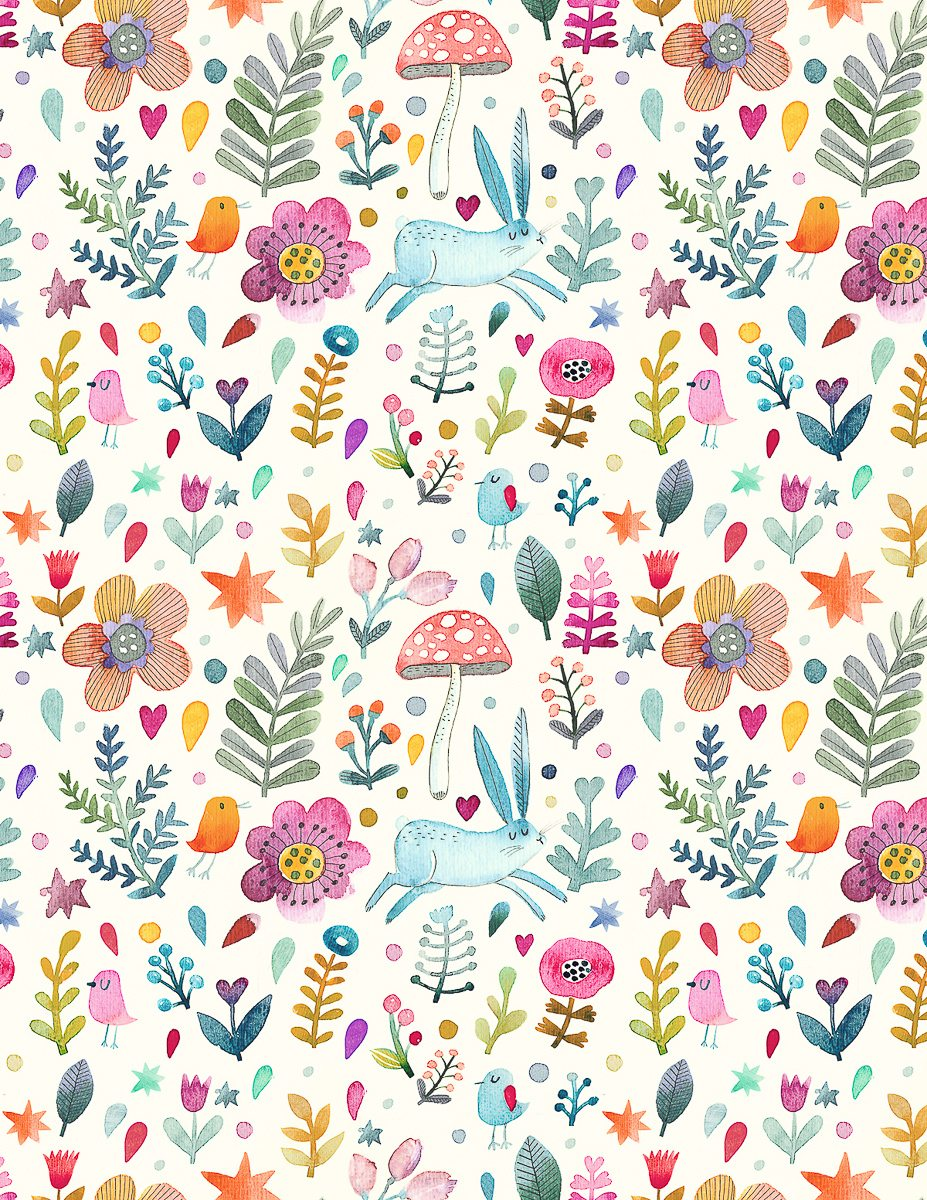 Sweet watercolor bunny gift wrap free printable tinselbox this design is a watercolor spring scene with bunnies mushrooms birds and flowers who doesnt love a rabbit sniffing her way through a garden mightylinksfo
