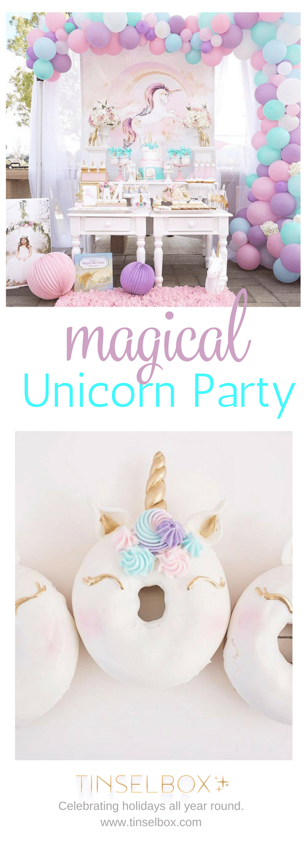 Magical unicorn party in purple, blue and gold.