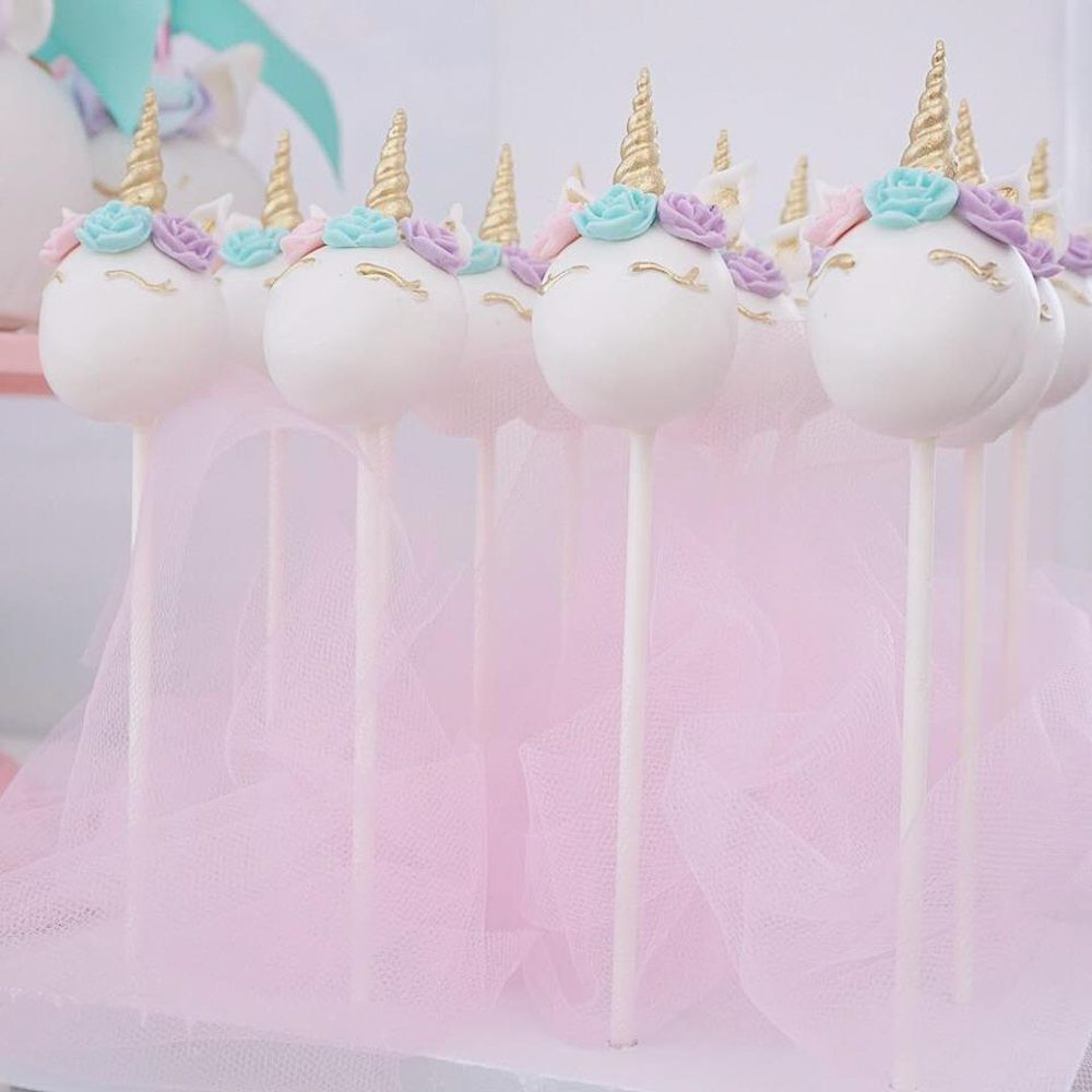 Magical purple and gold unicorn party tinselbox unicorn cake pops with blue purple pink and gold details junglespirit Image collections