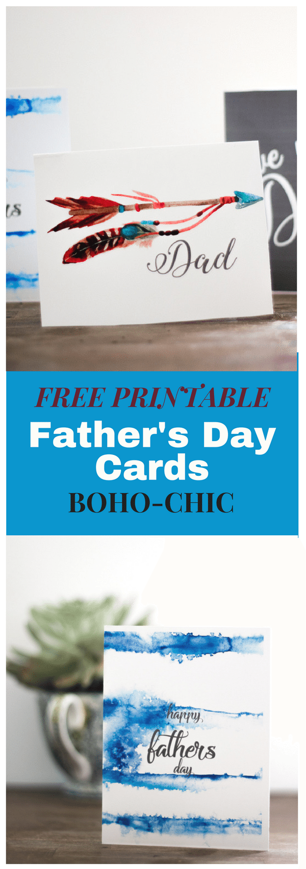 Free printable cards boho-chic Fathers Day