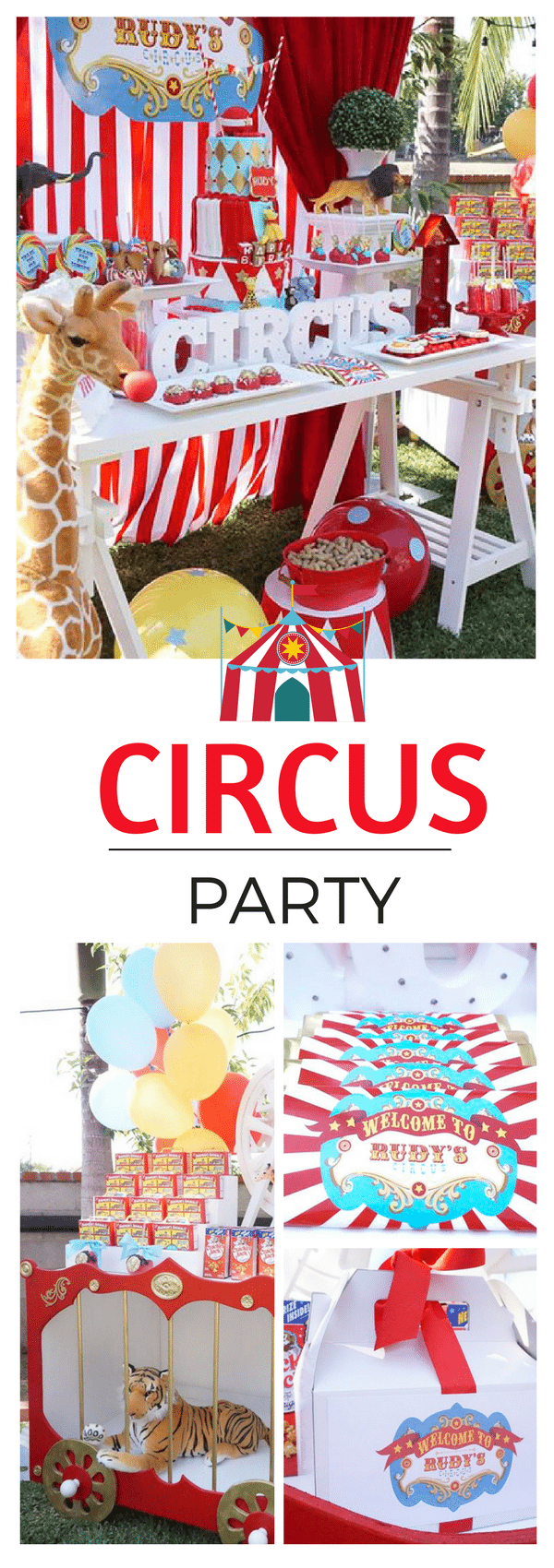 This adorable circus party had a three tiered cake, lion in a cage, decorations with a big top and everything a carnival would need for a themed birthday party.