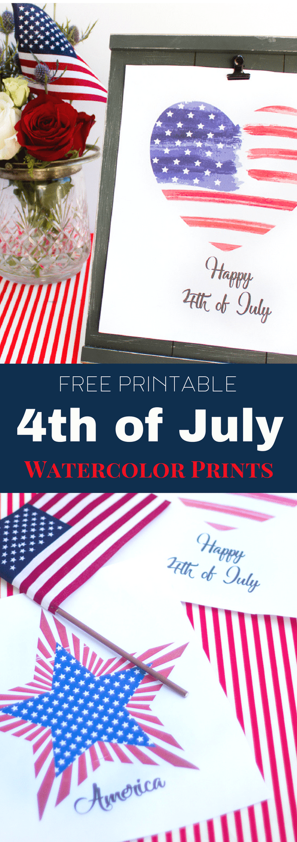 Free printable watercolor 4th of July patriotic prints.