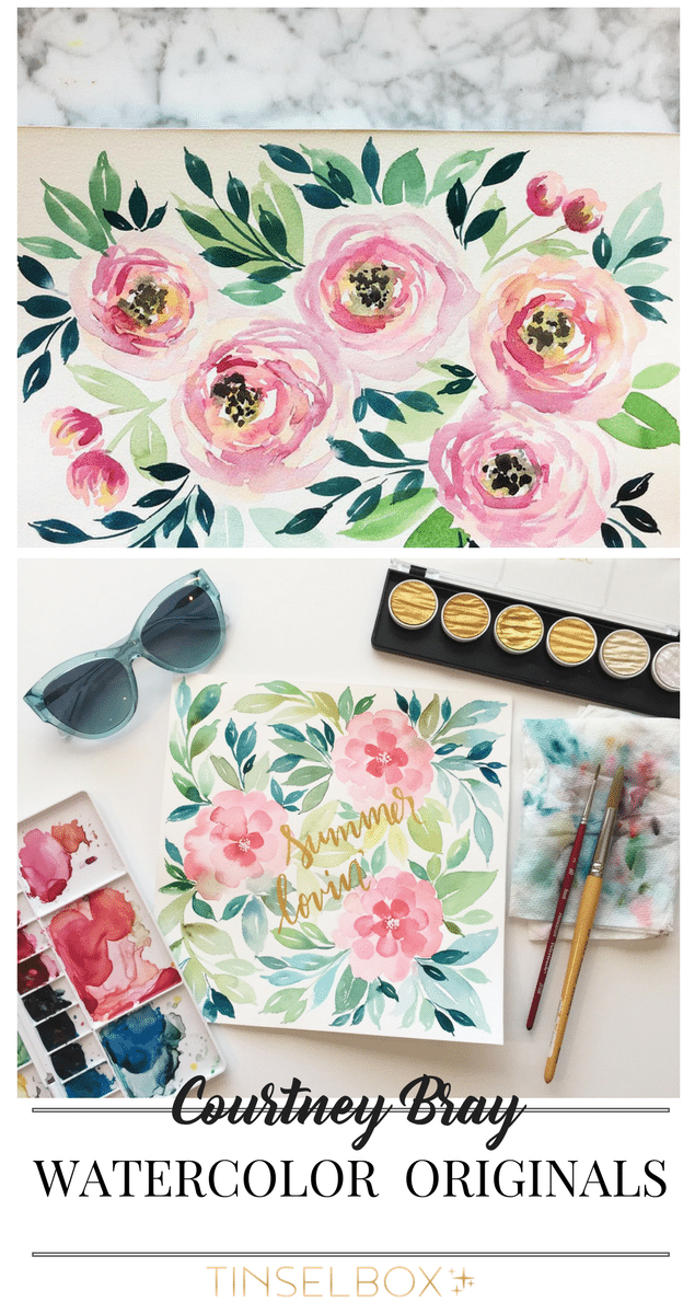 These beautiful original watercolor paintings by Courney Bray, can be found to download at Tinselbox.com. Courtney is not just an amazing artist, she is also an interesting person.