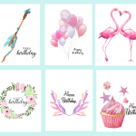 Free Printable Watercolor Birthday Cards {Flamingo, Balloons, Arrow, Cupcake}