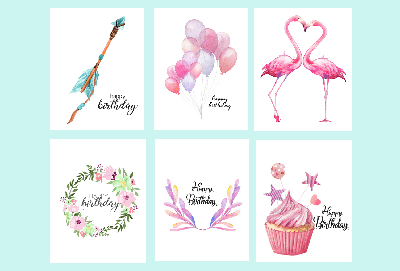 free printable watercolor birthday cards flamingo balloons arrow cupcake
