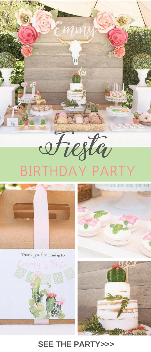 This adorable Mexican Fiesta Birthday Party theme has cactus, pinatas and a bohemian vibe. In soft pinks, greens and gold it has a rustic touch.  Modern Fiesta we are calling this inspiration.
