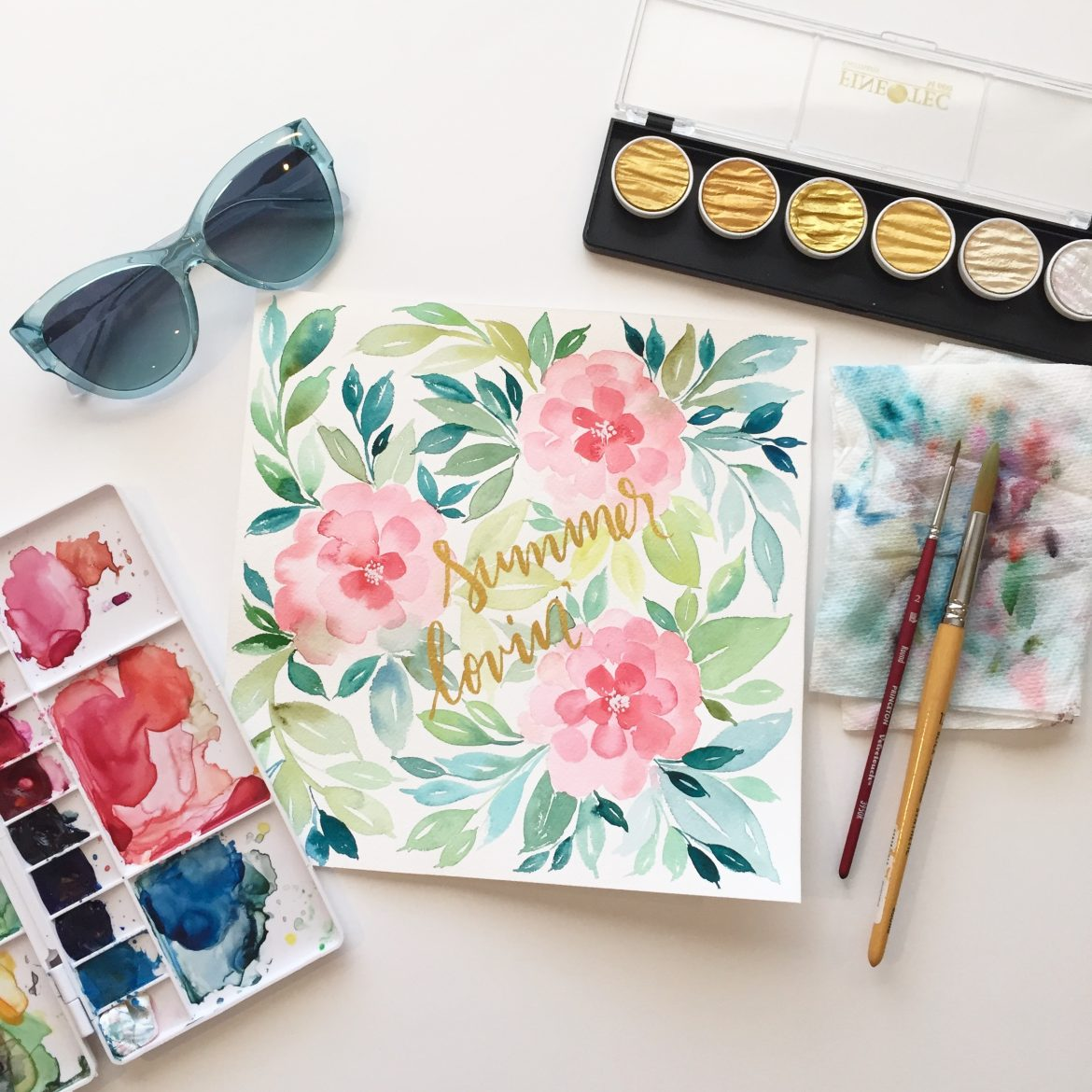 graphic relating to Free Printable Watercolor Pictures to Paint known as Watercolor Unique Summer season Lovin - TINSELBOX