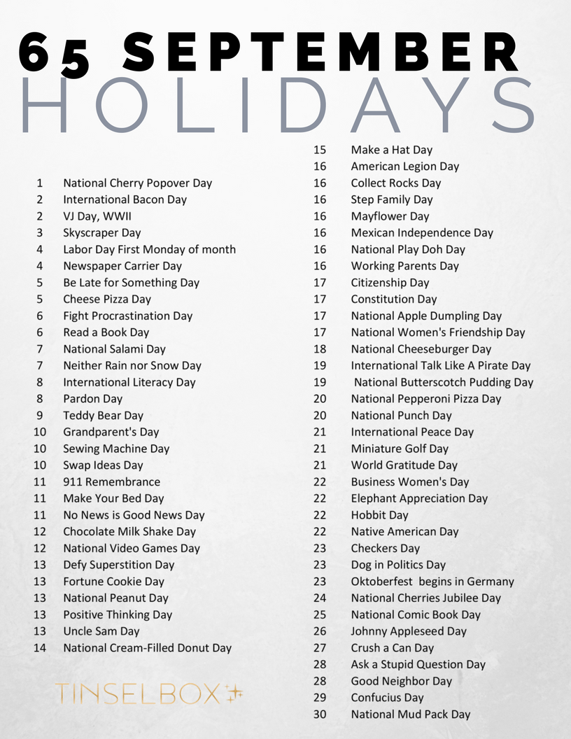 Wacky, fun list of September holidays to celebrate with kids. Gather your friends and celebrate these unsual National Holidays.