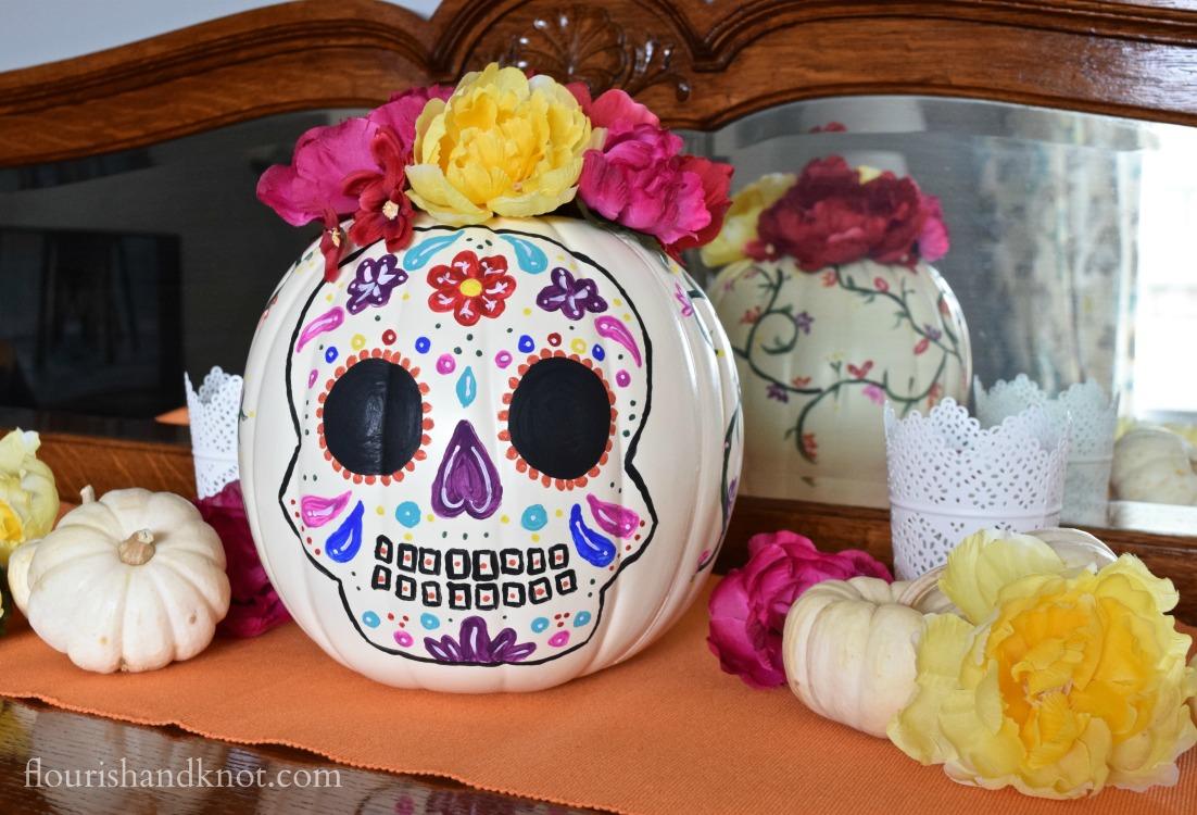 Tinselbox Dia De Muertos Painted Pumpkin
