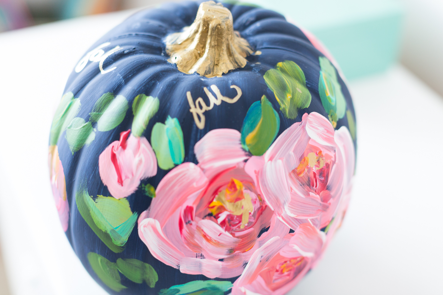 Pretty hand Painted floral pumpkin Tinselbox