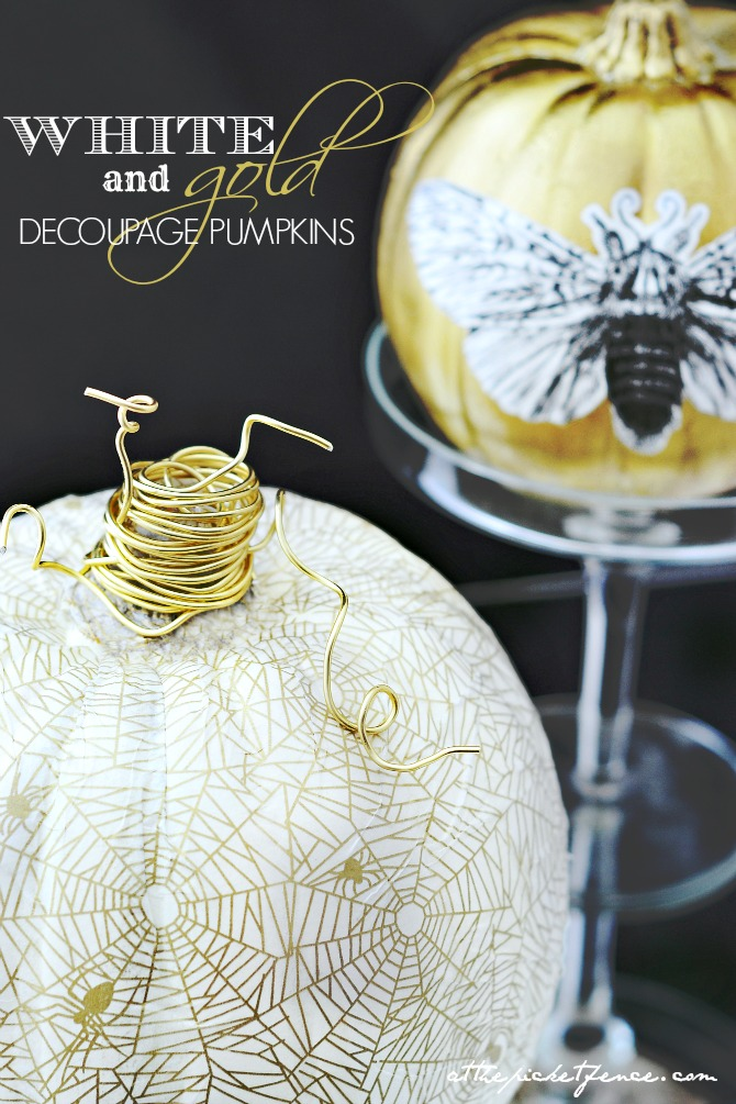 white-and-gold-decoupage-pumpkins