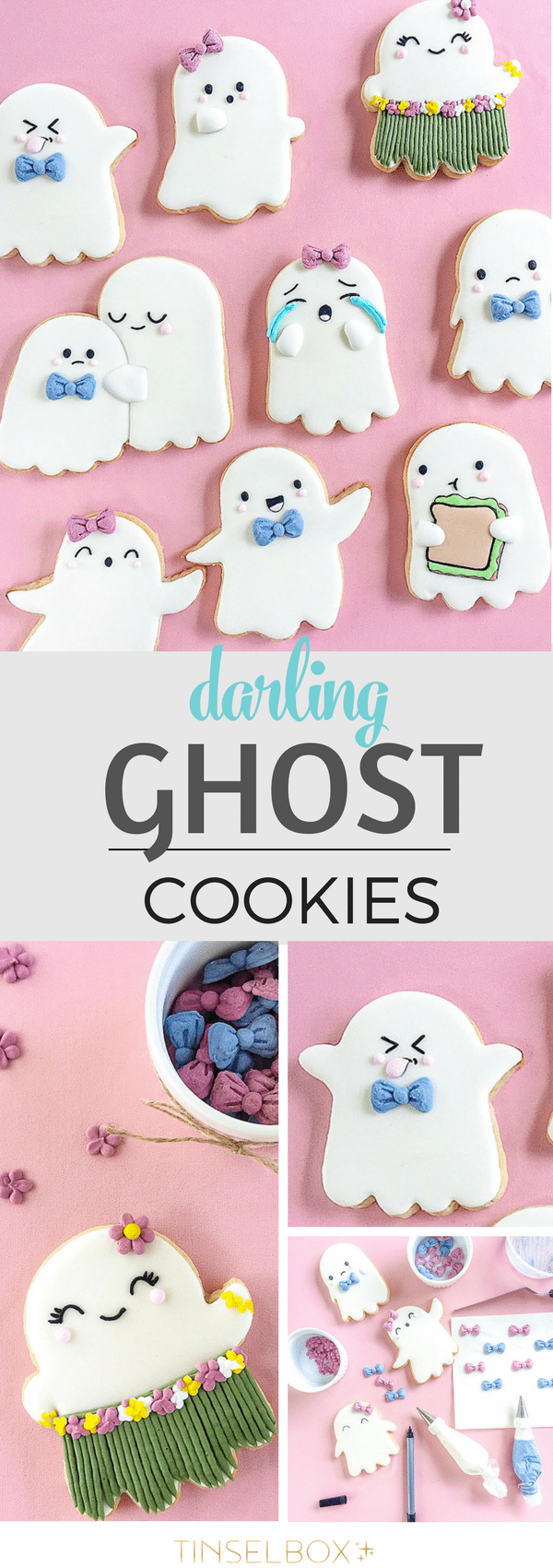 Would your friends LOVE these Darling Halloween Ghost Cookies? These sugar cookies are delightful treats for your Halloween party.