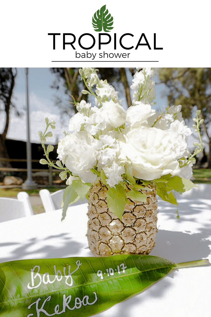 This is the perfect decoration for your tropical party. Golden pineapple with white flowers. Leaf detail is amazing.