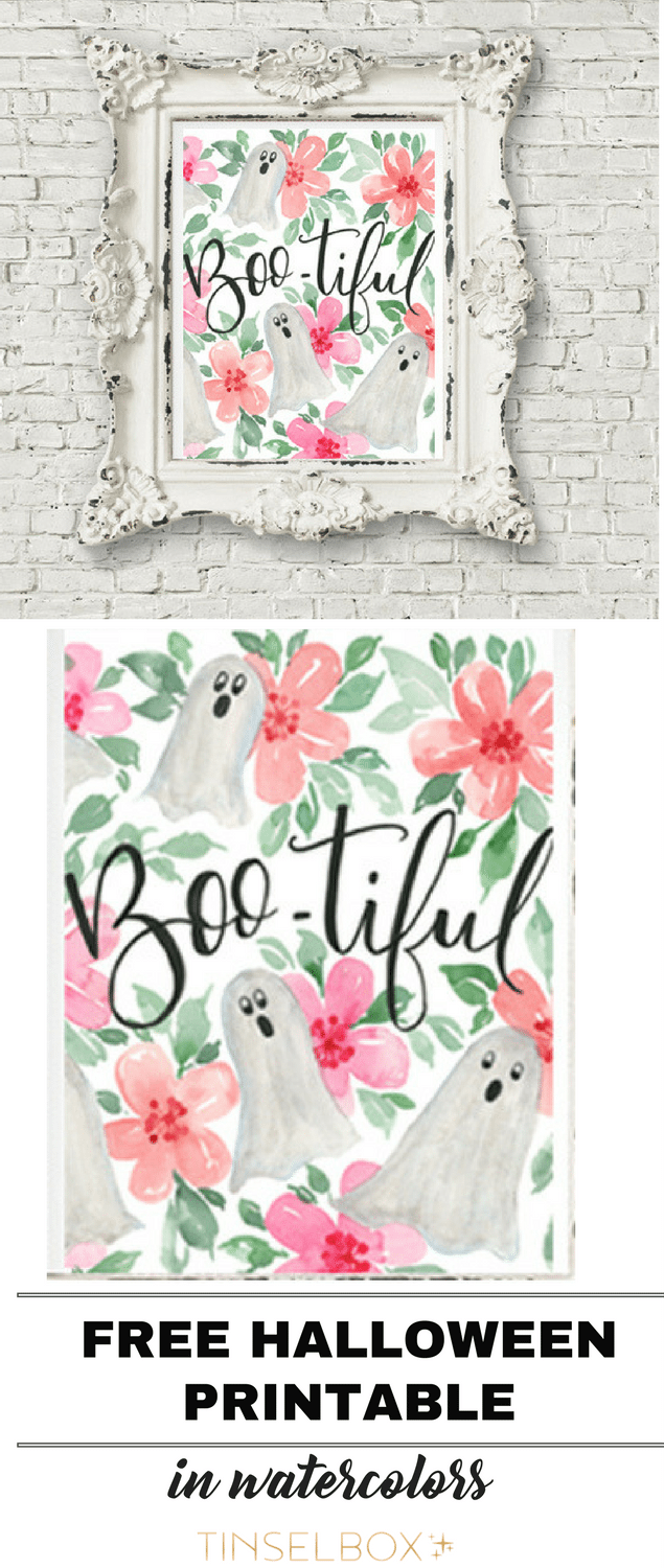 Get this free printable Halloween ghost! We love these darling holiday watercolors.