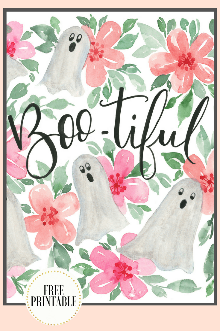Free Printable Halloween Print with Watercolor Ghosts. Based on original painting, and free to download.
