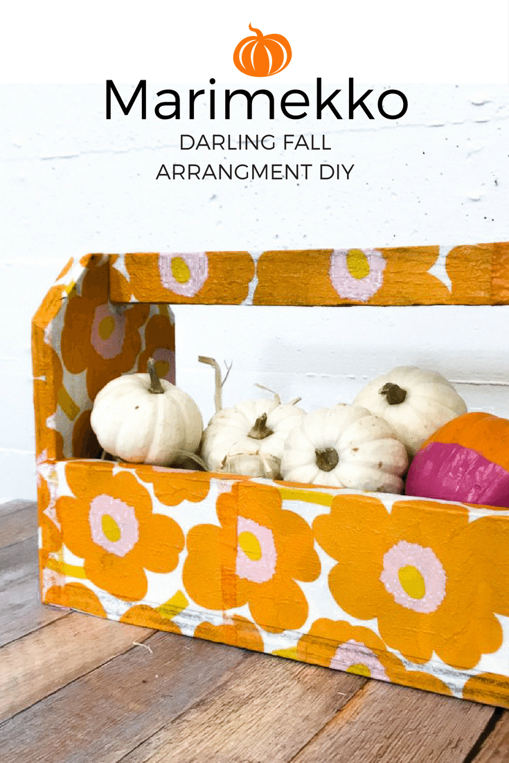 You will love this adorable fall arrangment DIY vingette using Marimekko napkins or really any napkins you love! This Fall toolbox is the perfect place for your pumpkins. {Added bonus these cute DIY pumpkin cutouts}