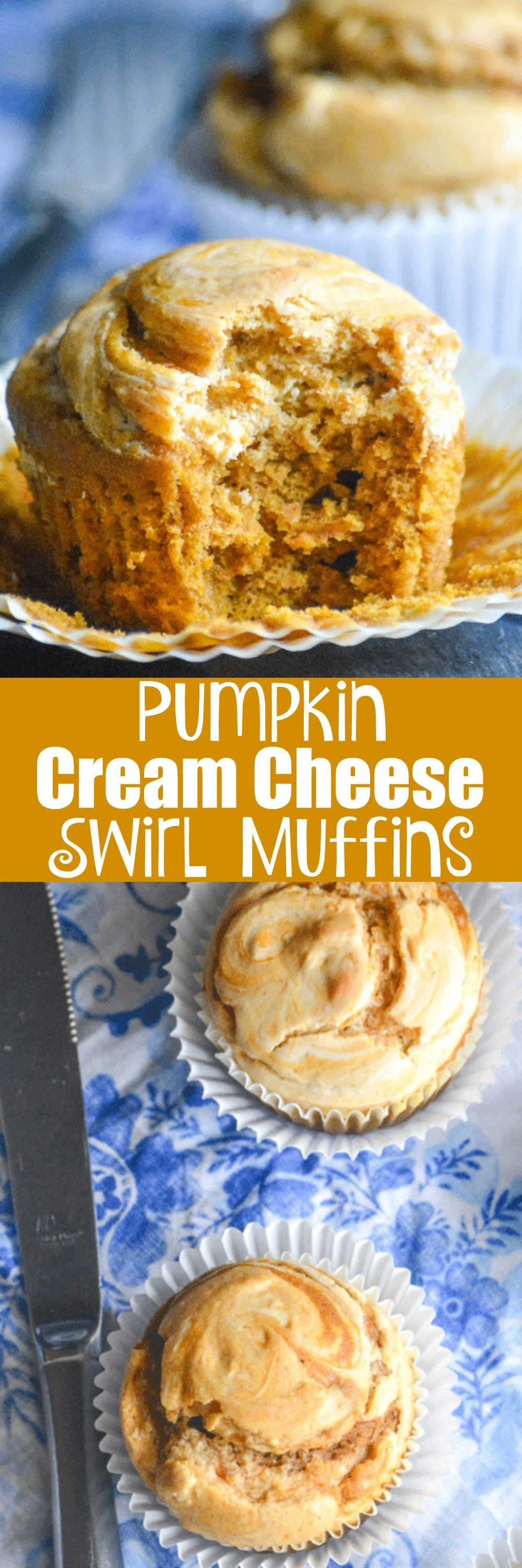 A batch of these Pumpkin Cream Cheese Swirl Muffins are the ideal way to usher in Fall and celebrate it's unique flavors. One bite, and I know you'll agree. Breakfast, snack, or dessert-- you'll fall in love with these sweet cake-like confections.
