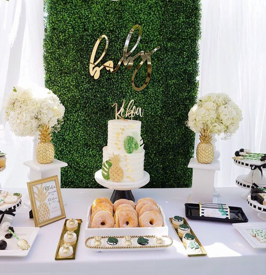 Elegant Tropical Baby Shower Theme With Golden Details And Fun Treats.