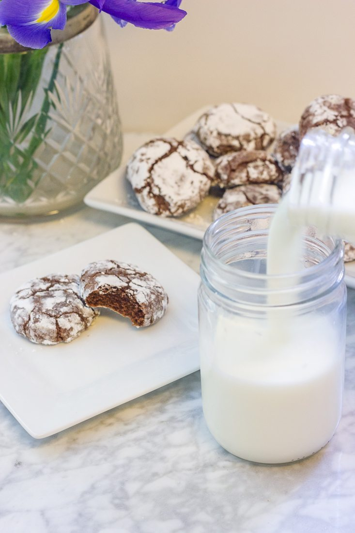 You will love these perfect dark chocolate crinkle cookies. They have the BEST gooey, chocolate inside with sweet crispy cookie outside.