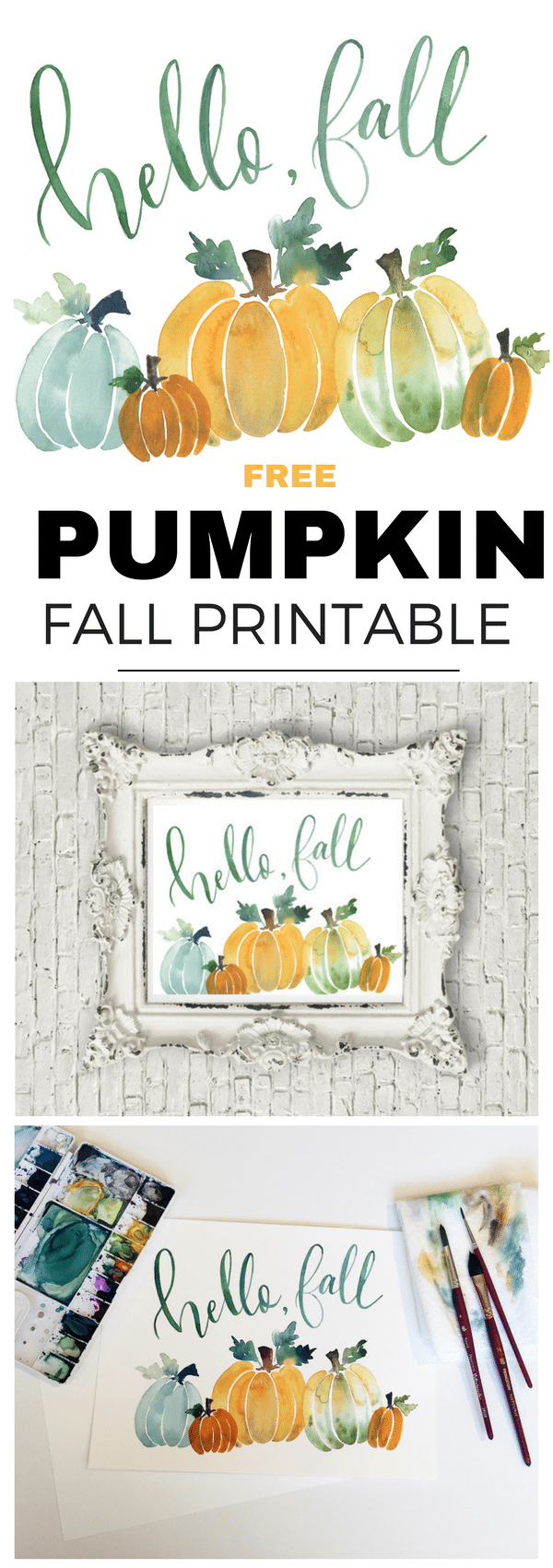 Free Hello Fall Pumpkin Printable in pretty watercolor. Made from a Courtney Bray original and downloadable on Tinselbox.com.