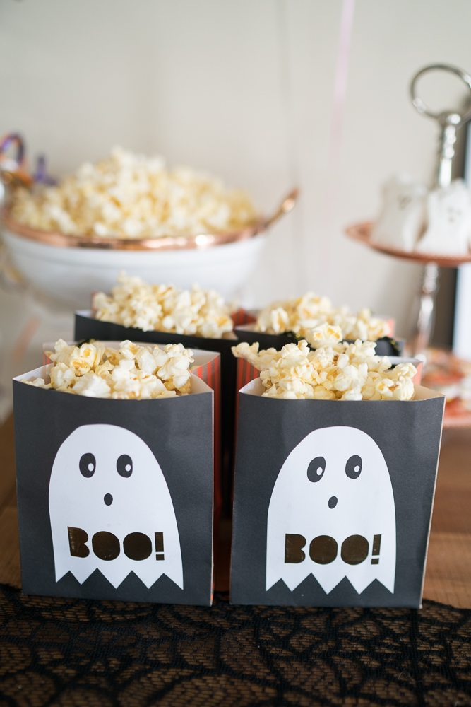 This Ghostbusters Halloween Movie Night is complete with cute ghosts and Orange Cream Italian Sodas. We love a pretty viewing party!