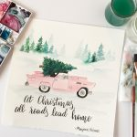 Millennial Pink Vintage Car with Christmas Tree Print