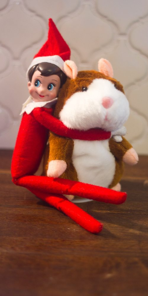 This Elf on the Shelf is giving a hamster a hug. So many fun toys to cuddle. Get all the easy ideas here.