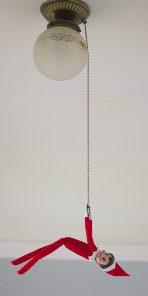Dangling, upside down Elf on the Shelf poses are so funny
