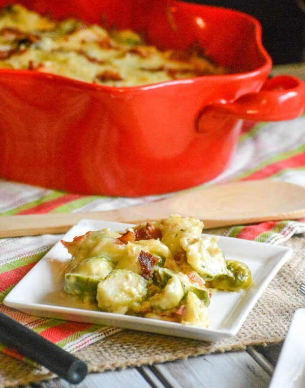 Cheesy Bacon Brussels Sprout Casserole