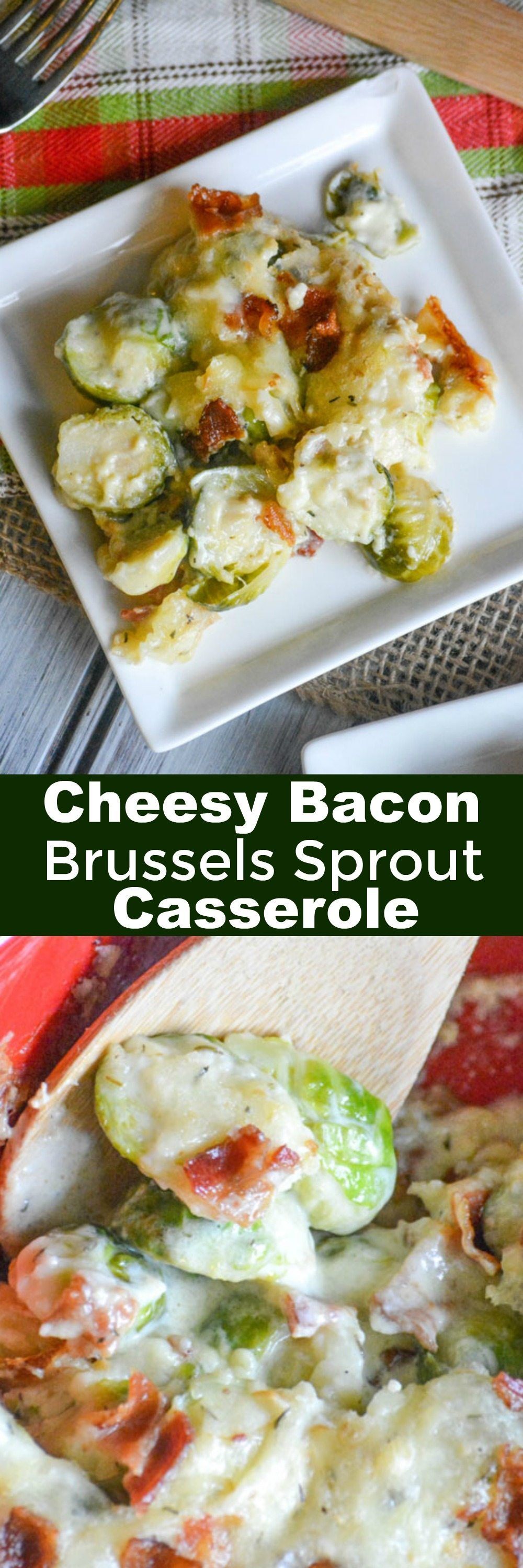 Cheesy #Bacon #Brussels Sprout #Casserole is sure to please your #Thanksgiving dinner guests or be a staple for family dinner.