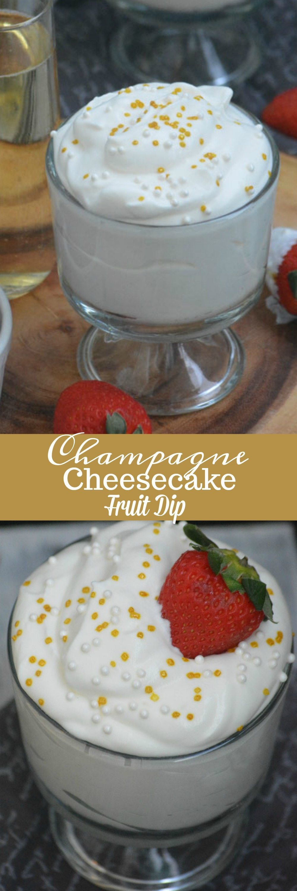 This fun Champagne Cheesecake Fruit Dip is a must have at any holiday gathering. It's quick & easy enough, even for the last minute, and pairs perfectly with fresh fruit you already have on hand. Simple, yet gourmet, it's the best way to ring in the New Year.