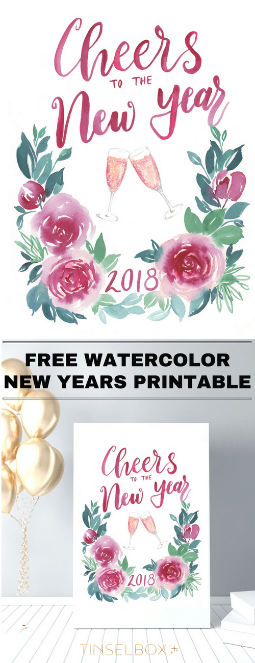 Cheers to the New Year! Come download this print or the card to share with your family and friends this new year. This original watercolor is so much fun.