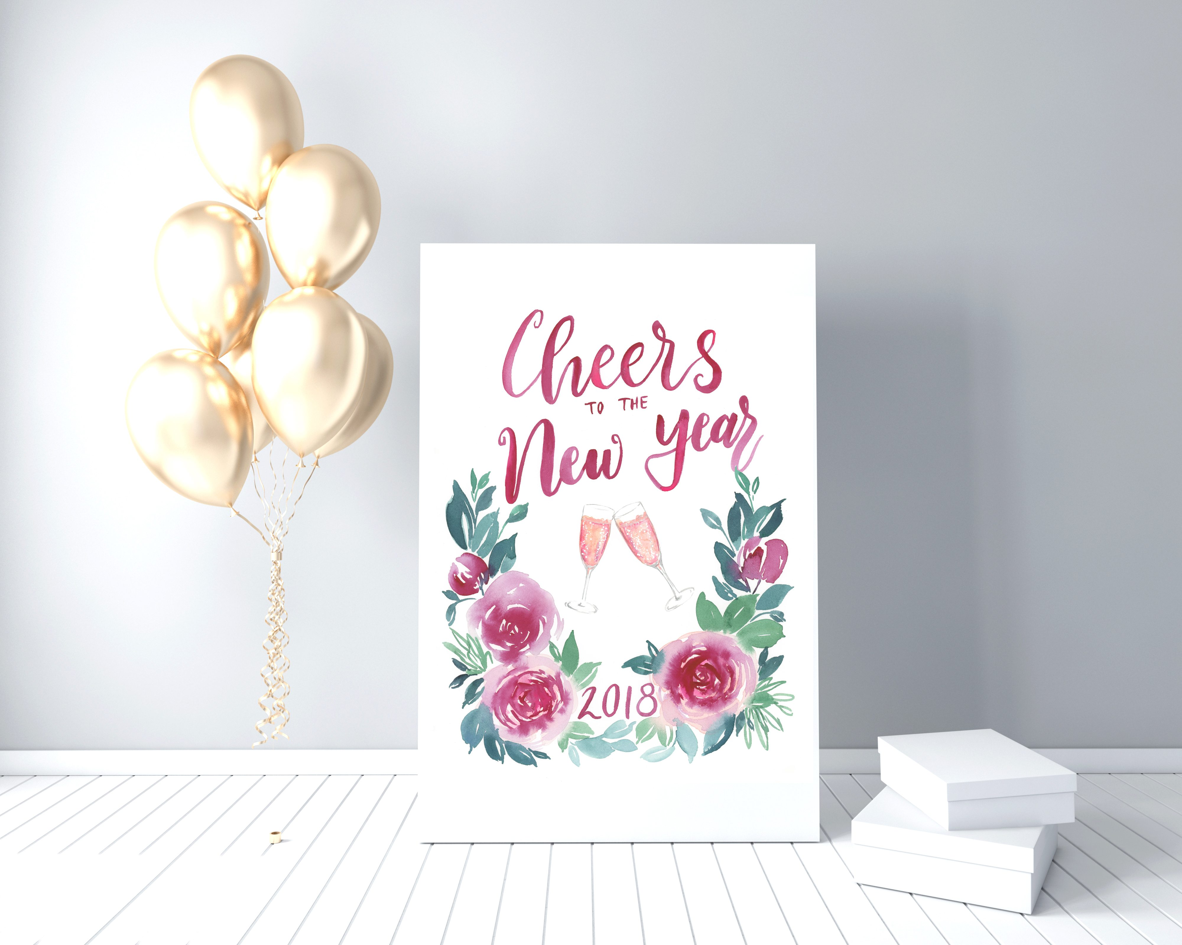 cheers to the new year 2018 holiday watercolor printable
