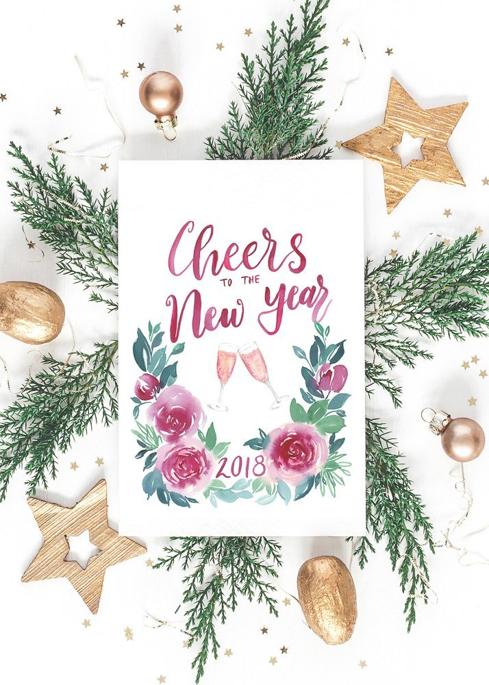 Check out all our original watercolor free printables including this 2018 holiday card #cheers #freeprintable