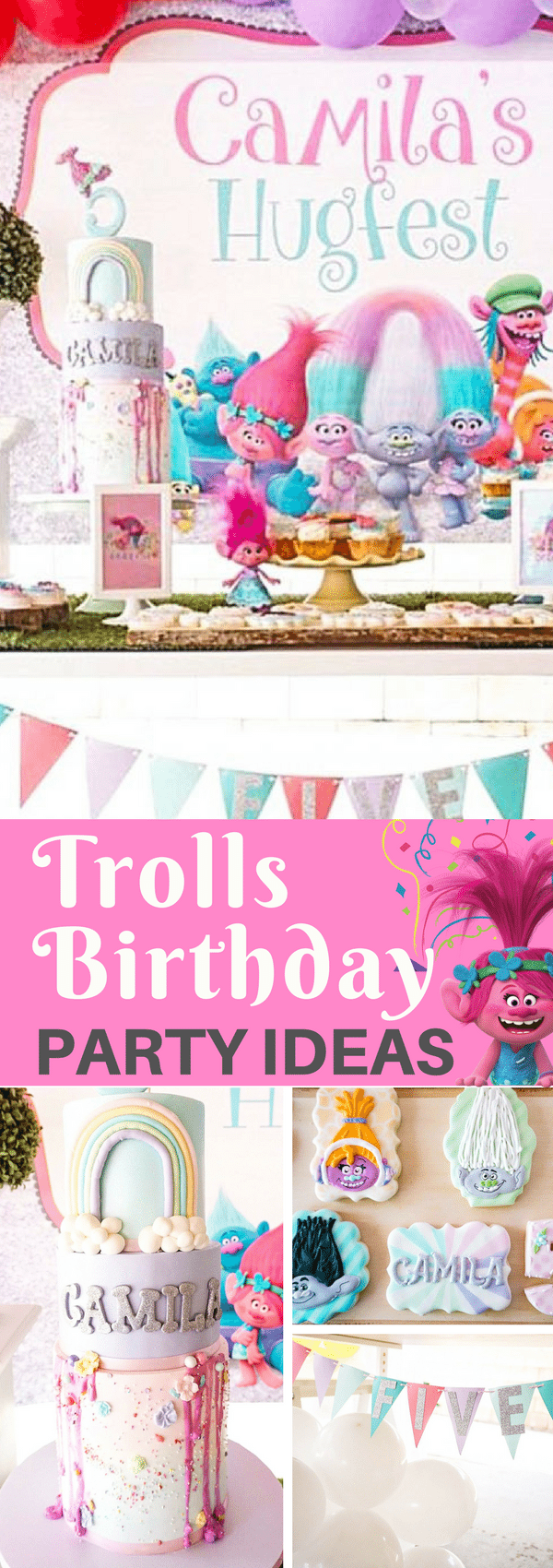 Does your little one love Princess Poppy?  This adorable Princess Poppy Trolls Birthday Party inspiration is so crazy CUTE! #trollsparty #kidsbirthday #trolls