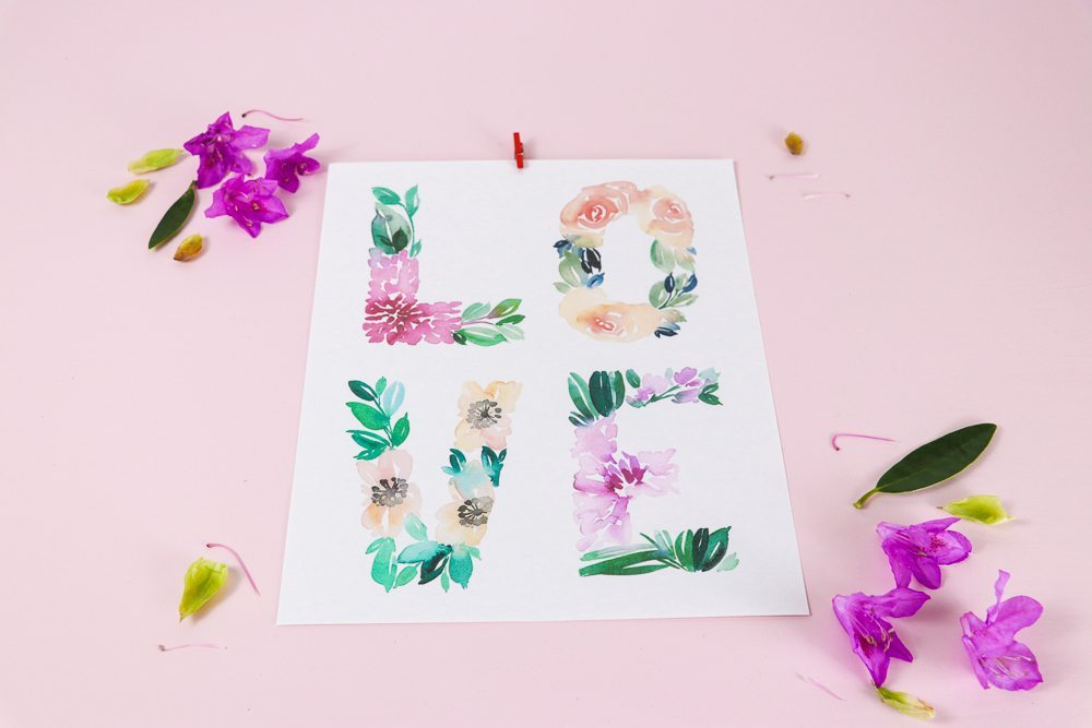 image regarding Watercolor Printable named Watercolor floral enjoy cost-free printable card and wall artwork
