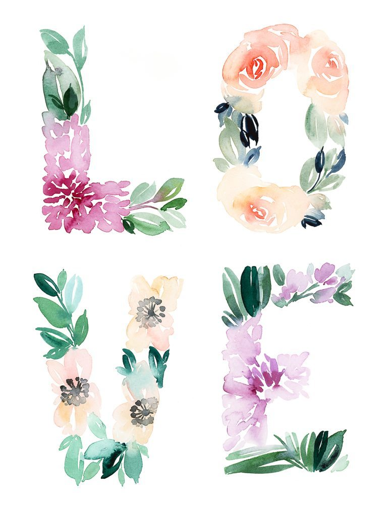 Adorable Watercolor Floral LOVE Free Printable Note Cards