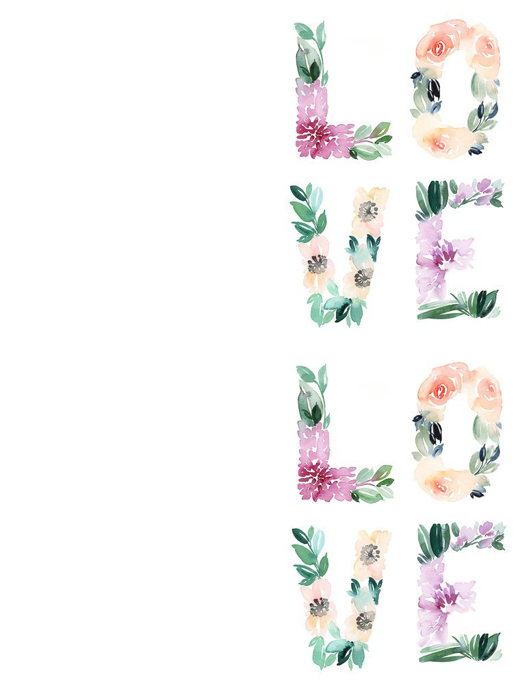 Watercolor floral love free printable card and wall art